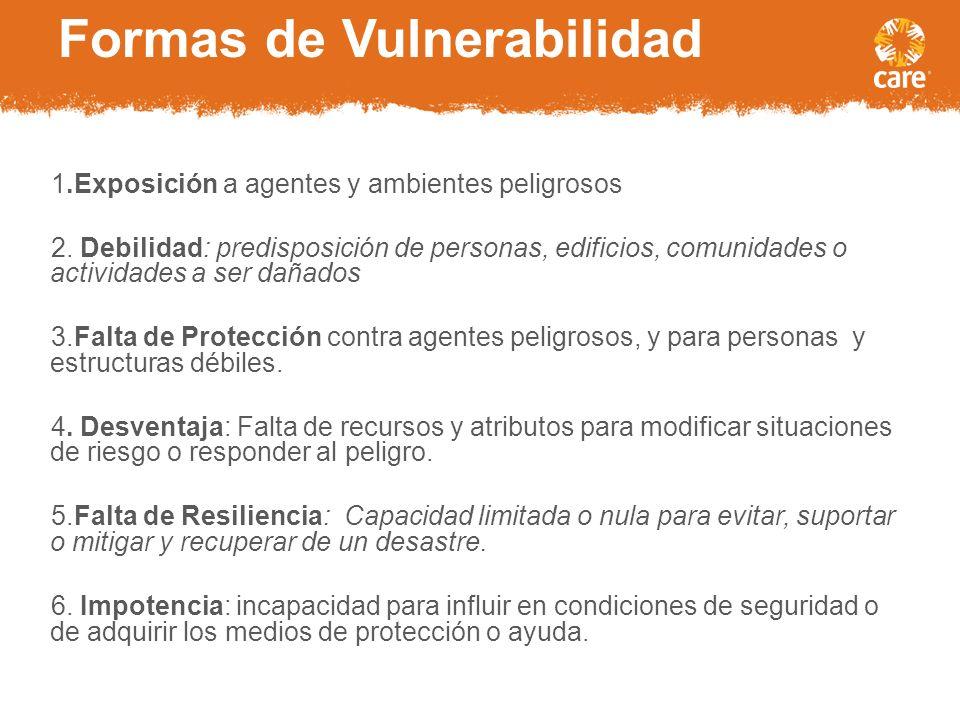 Formas de Vulnerabilidad 1.Exposición a agentes y ambientes peligrosos 2.