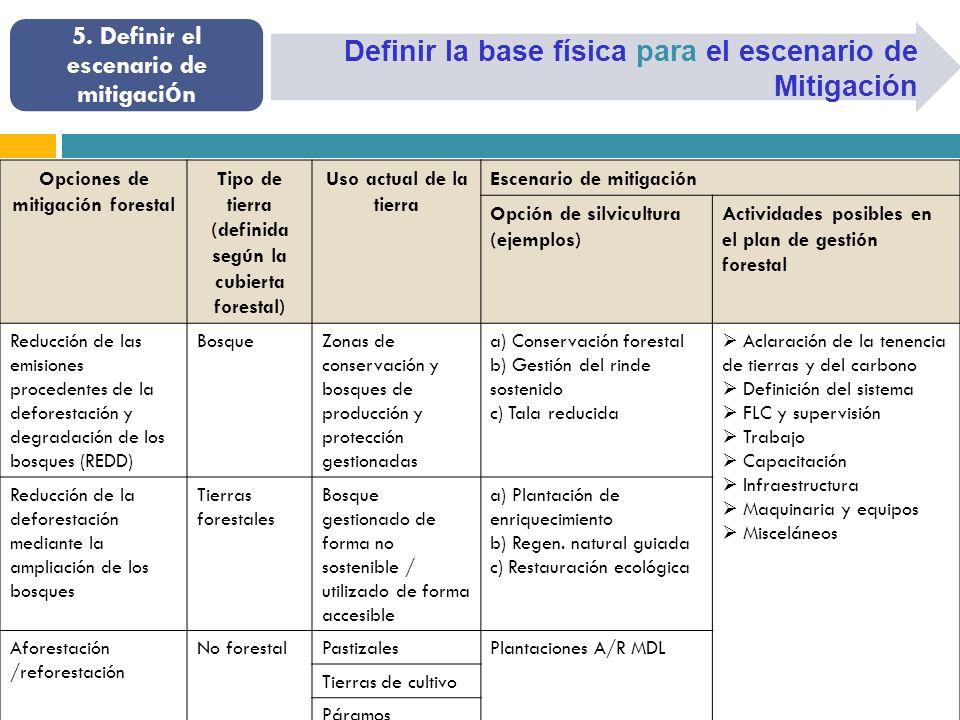 Definir la base física para el escenario de Mitigación 5.