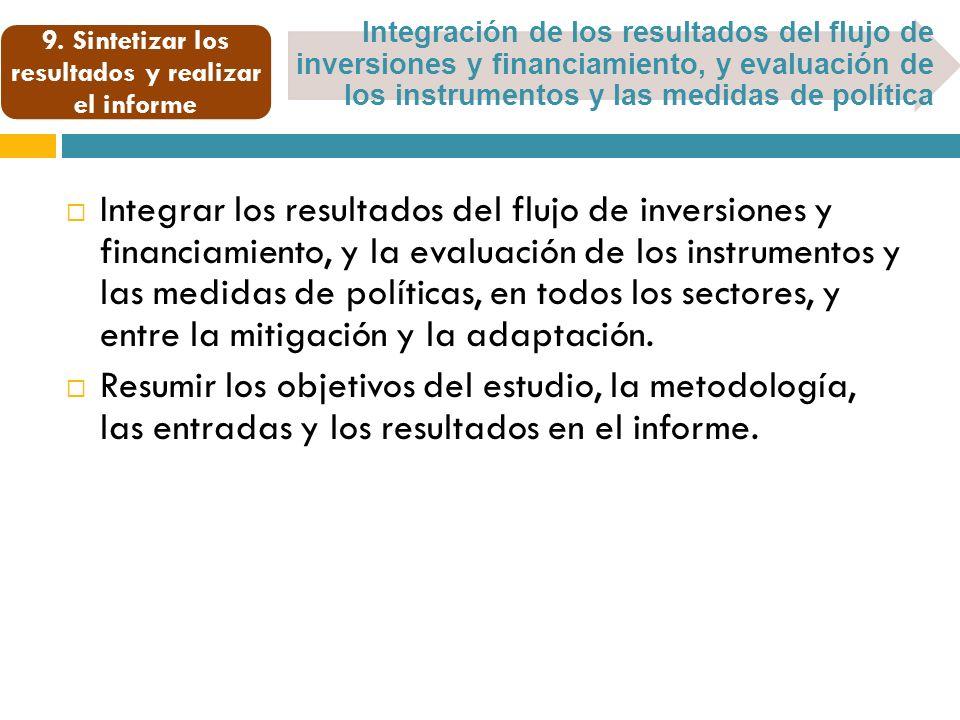 Integración de los resultados del flujo de inversiones y financiamiento, y evaluación de los instrumentos y las medidas de política 9.