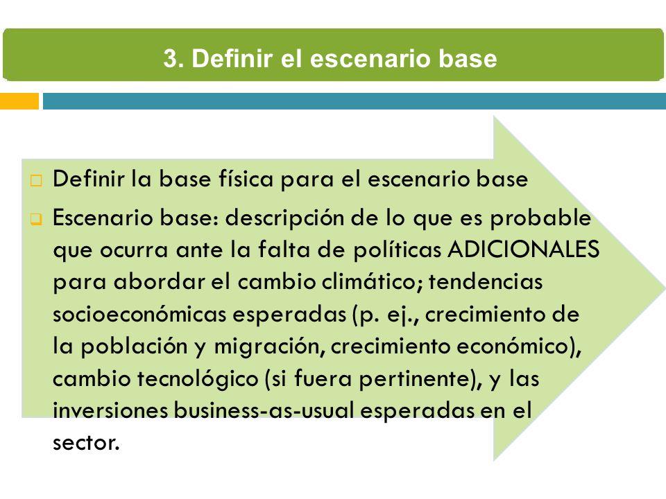 Definir la base física para el escenario base Escenario base: descripción de lo que es probable que ocurra ante la falta de políticas ADICIONALES para abordar el cambio climático; tendencias socioeconómicas esperadas (p.