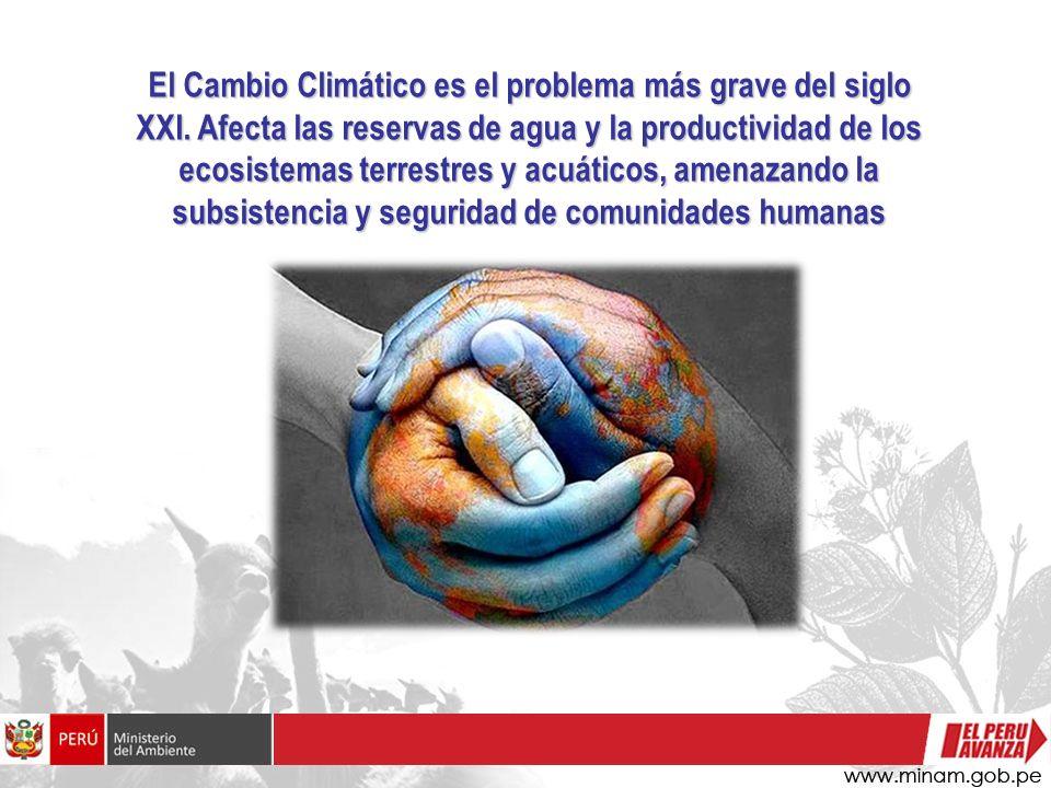 El Cambio Climático es el problema más grave del siglo XXI. Afecta las reservas de agua y la productividad de los ecosistemas terrestres y acuáticos,
