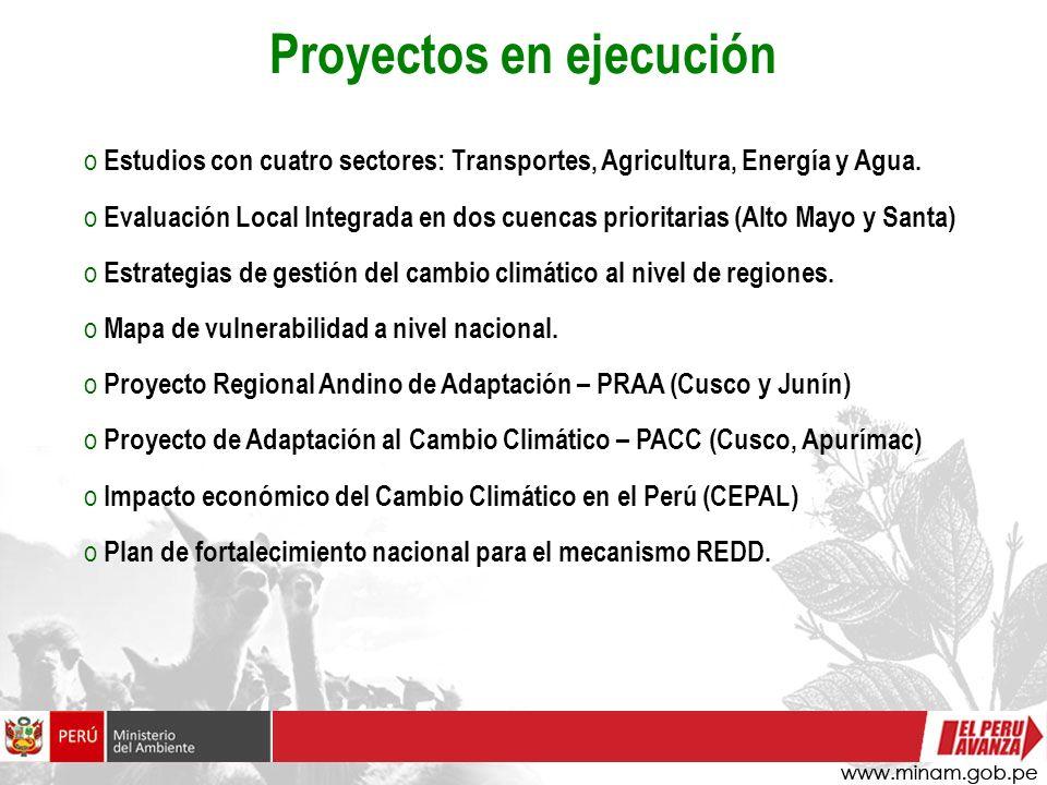 o Estudios con cuatro sectores: Transportes, Agricultura, Energía y Agua. o Evaluación Local Integrada en dos cuencas prioritarias (Alto Mayo y Santa)