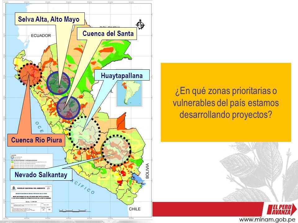 ¿En qué zonas prioritarias o vulnerables del país estamos desarrollando proyectos? Nevado Salkantay Selva Alta, Alto Mayo Cuenca del Santa Huaytapalla