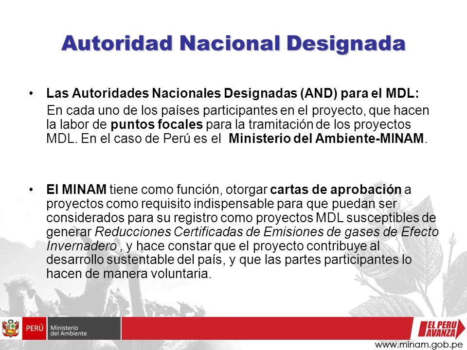 Autoridad Nacional Designada Las Autoridades Nacionales Designadas (AND) para el MDL: En cada uno de los países participantes en el proyecto, que hace