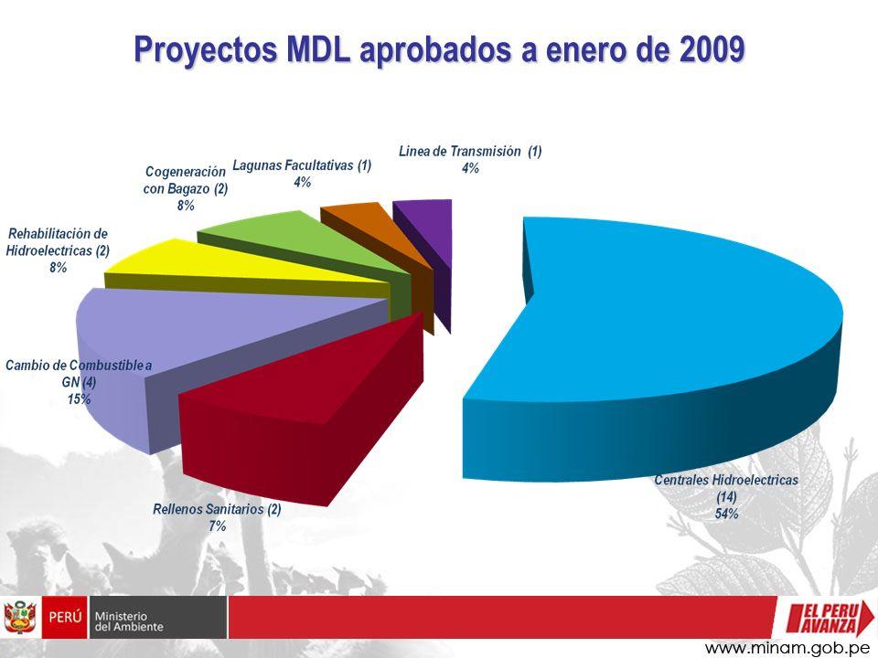 Proyectos MDL aprobados a enero de 2009