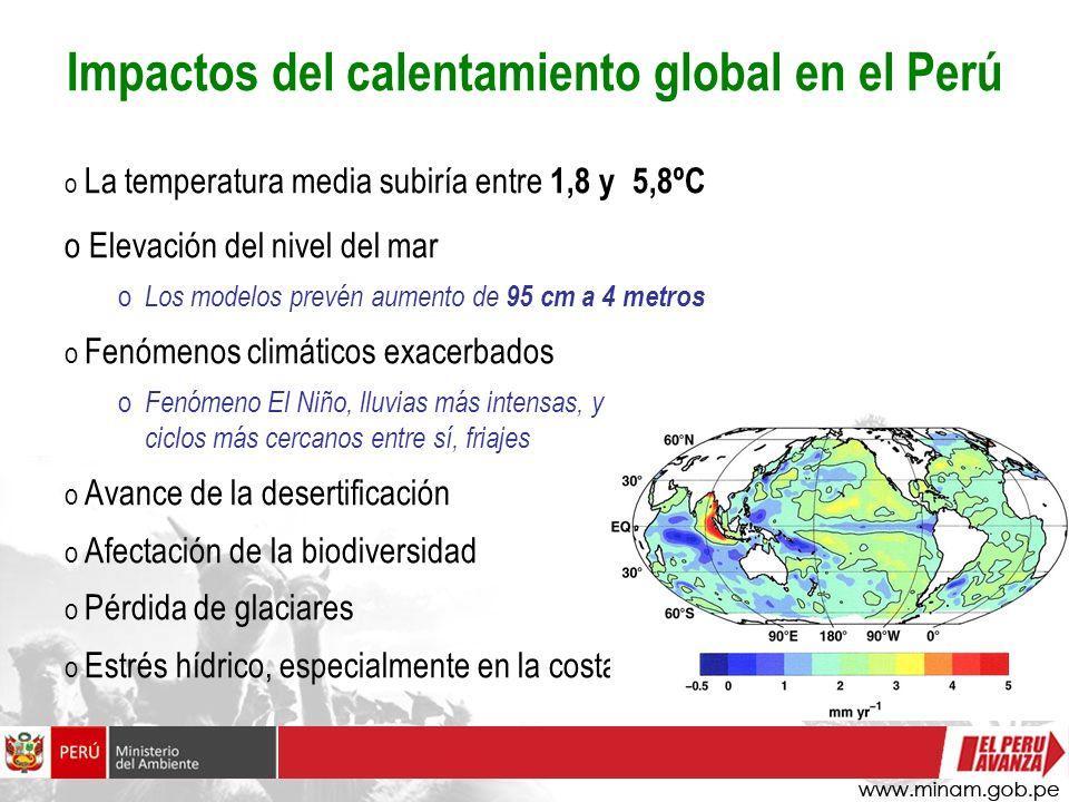 Impactos del calentamiento global en el Perú o La temperatura media subiría entre 1,8 y 5,8ºC o Elevación del nivel del mar o Los modelos prevén aumen