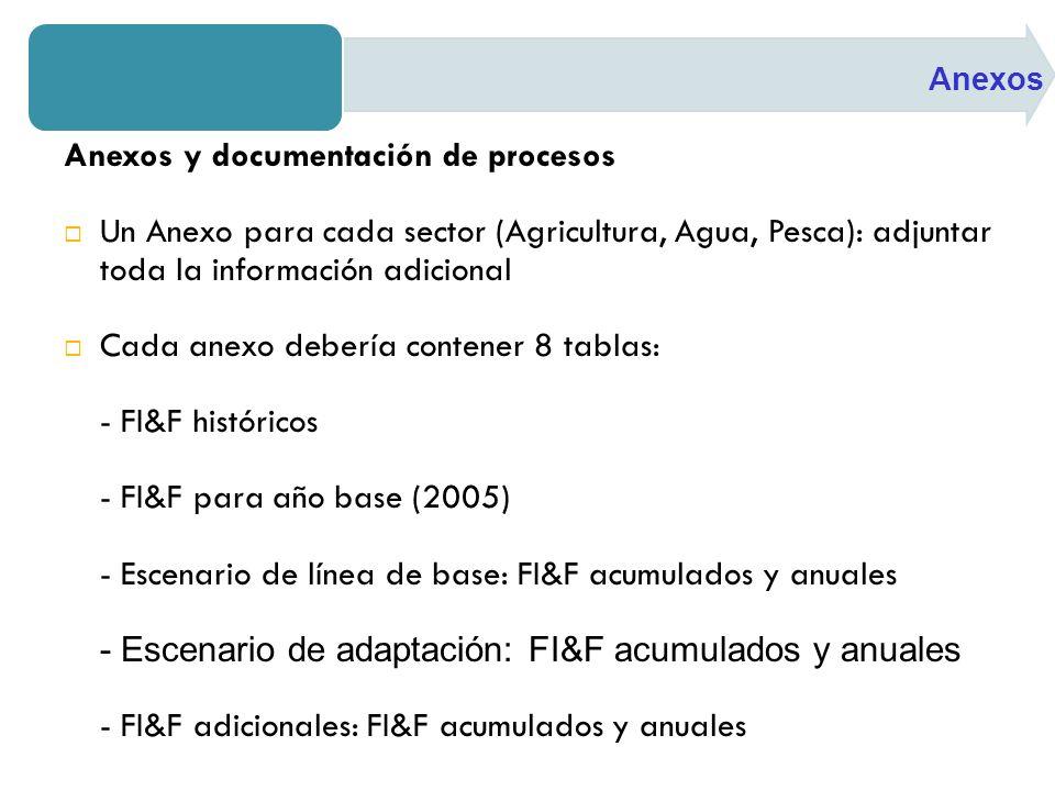 Anexos y documentación de procesos Un Anexo para cada sector (Agricultura, Agua, Pesca): adjuntar toda la información adicional Cada anexo debería contener 8 tablas: - FI&F históricos - FI&F para año base (2005) - Escenario de línea de base: FI&F acumulados y anuales - Escenario de adaptación: FI&F acumulados y anuales - FI&F adicionales: FI&F acumulados y anuales Anexos