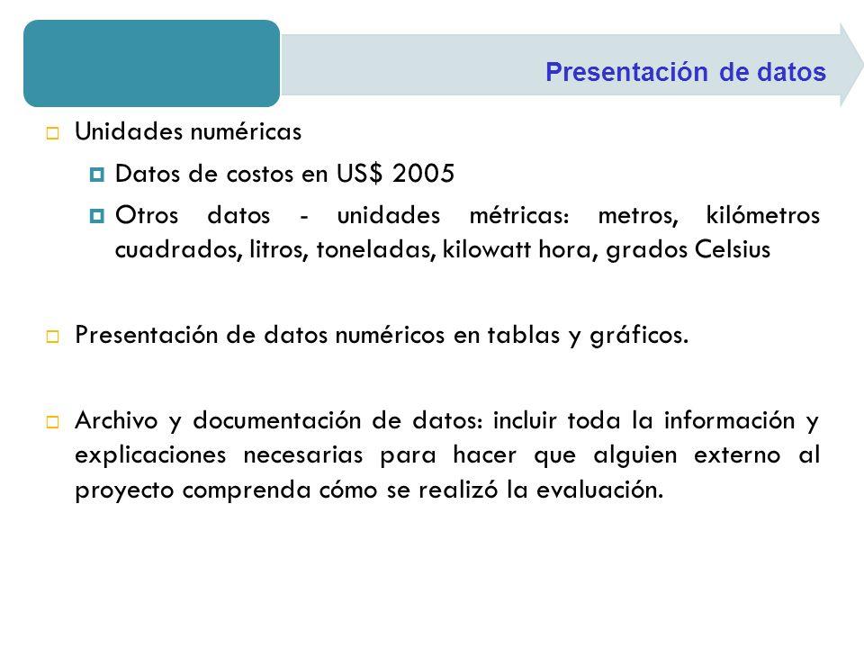 Unidades numéricas Datos de costos en US$ 2005 Otros datos - unidades métricas: metros, kilómetros cuadrados, litros, toneladas, kilowatt hora, grados Celsius Presentación de datos numéricos en tablas y gráficos.