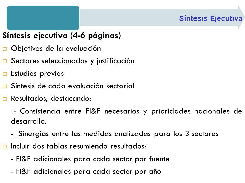 Síntesis ejecutiva (4-6 páginas) Objetivos de la evaluación Sectores seleccionados y justificación Estudios previos Síntesis de cada evaluación sectorial Resultados, destacando: - Consistencia entre FI&F necesarios y prioridades nacionales de desarrollo.