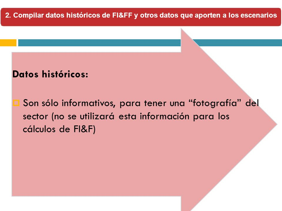 2. Compilar datos históricos de FI&FF y otros datos que aporten a los escenarios Datos históricos: Son sólo informativos, para tener una fotografía de