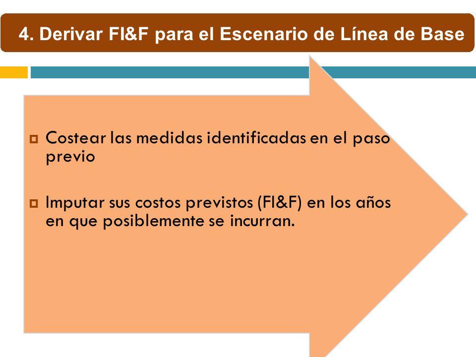 Costear las medidas identificadas en el paso previo Imputar sus costos previstos (FI&F) en los años en que posiblemente se incurran. 4. Derivar FI&F p