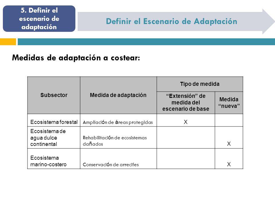 Definir el Escenario de Adaptación 5. Definir el escenario de adaptación Medidas de adaptación a costear: SubsectorMedida de adaptación Tipo de medida