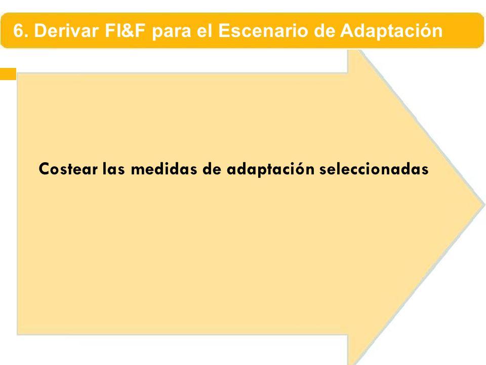 Costear las medidas de adaptación seleccionadas 6. Derivar FI&F para el Escenario de Adaptación