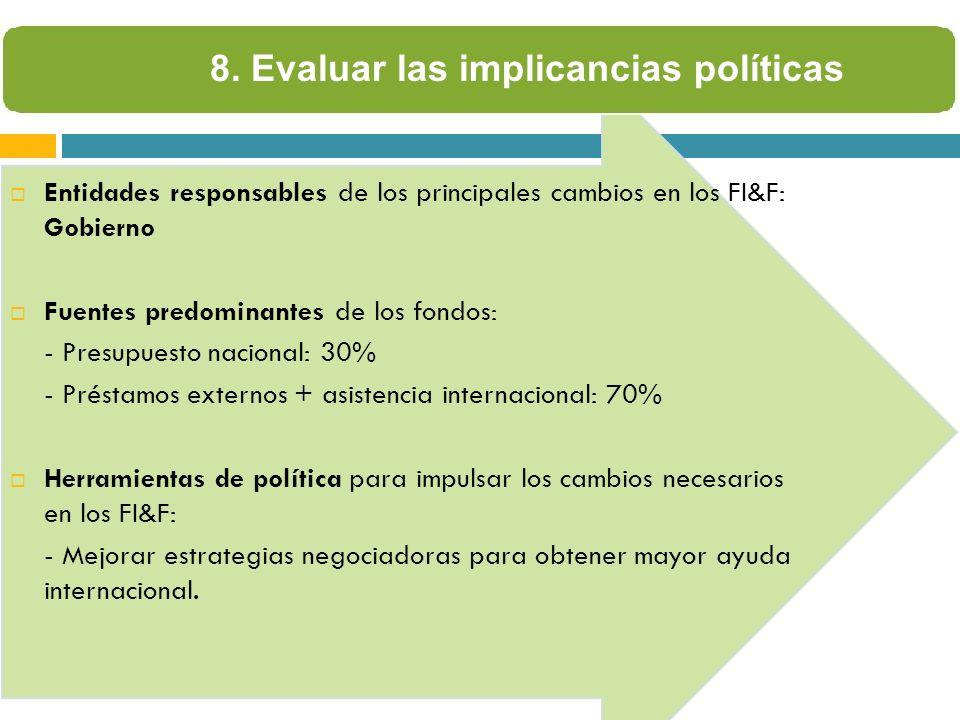 8. Evaluar las implicancias políticas Entidades responsables de los principales cambios en los FI&F: Gobierno Fuentes predominantes de los fondos: - P