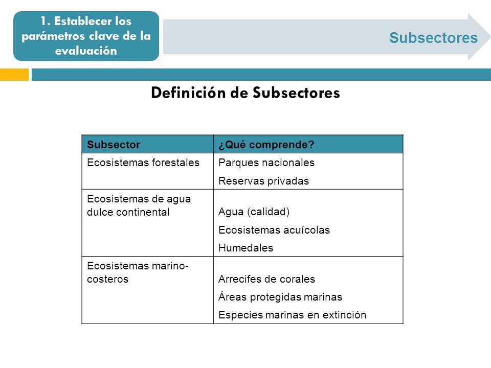 Subsectores 1. Establecer los parámetros clave de la evaluación Definición de Subsectores Subsector¿Qué comprende? Ecosistemas forestalesParques nacio