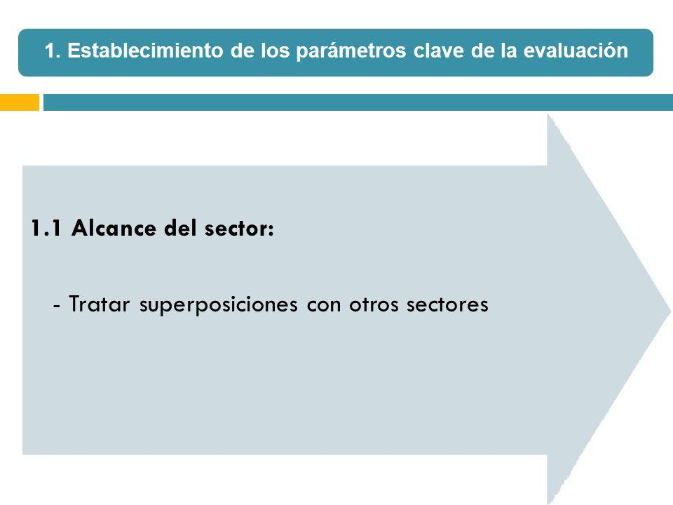 1.1 Alcance del sector: - Tratar superposiciones con otros sectores 1. Establecimiento de los parámetros clave de la evaluación