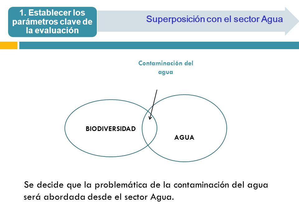Superposición con el sector Agua 1. Establecer los parámetros clave de la evaluación AGUA BIODIVERSIDAD Contaminación del agua Se decide que la proble
