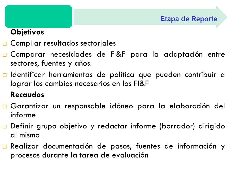 Objetivos Compilar resultados sectoriales Comparar necesidades de FI&F para la adaptación entre sectores, fuentes y años.