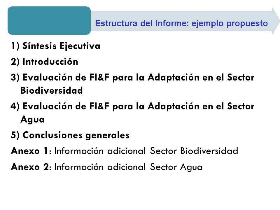 1) Síntesis Ejecutiva 2) Introducción 3) Evaluación de FI&F para la Adaptación en el Sector Biodiversidad 4) Evaluación de FI&F para la Adaptación en el Sector Agua 5) Conclusiones generales Anexo 1: Información adicional Sector Biodiversidad Anexo 2: Información adicional Sector Agua Estructura del Informe: ejemplo propuesto