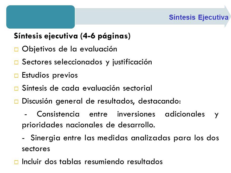 Síntesis ejecutiva (4-6 páginas) Objetivos de la evaluación Sectores seleccionados y justificación Estudios previos Síntesis de cada evaluación sectorial Discusión general de resultados, destacando: - Consistencia entre inversiones adicionales y prioridades nacionales de desarrollo.