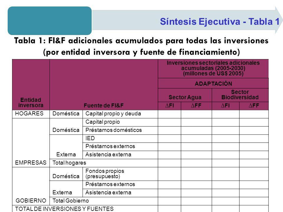 Síntesis Ejecutiva - Tabla 1 Tabla 1: FI&F adicionales acumulados para todas las inversiones (por entidad inversora y fuente de financiamiento) Entidad inversoraFuente de FI&F Inversiones sectoriales adicionales acumuladas (2005-2030) (millones de US$ 2005) ADAPTACIÓN Sector Agua Sector Biodiversidad FIFFFIFF HOGARESDomésticaCapital propio y deuda EMPRESAS Doméstica Capital propio Préstamos domésticos Externa IED Préstamos externos Asistencia externa Total hogares GOBIERNO Doméstica Fondos propios (presupuesto) Externa Préstamos externos Asistencia externa Total Gobierno TOTAL DE INVERSIONES Y FUENTES