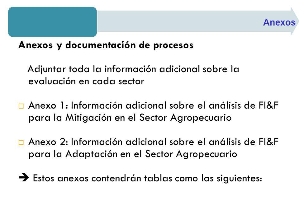 Anexos y documentación de procesos Adjuntar toda la información adicional sobre la evaluación en cada sector Anexo 1: Información adicional sobre el análisis de FI&F para la Mitigación en el Sector Agropecuario Anexo 2: Información adicional sobre el análisis de FI&F para la Adaptación en el Sector Agropecuario Estos anexos contendrán tablas como las siguientes: Anexos