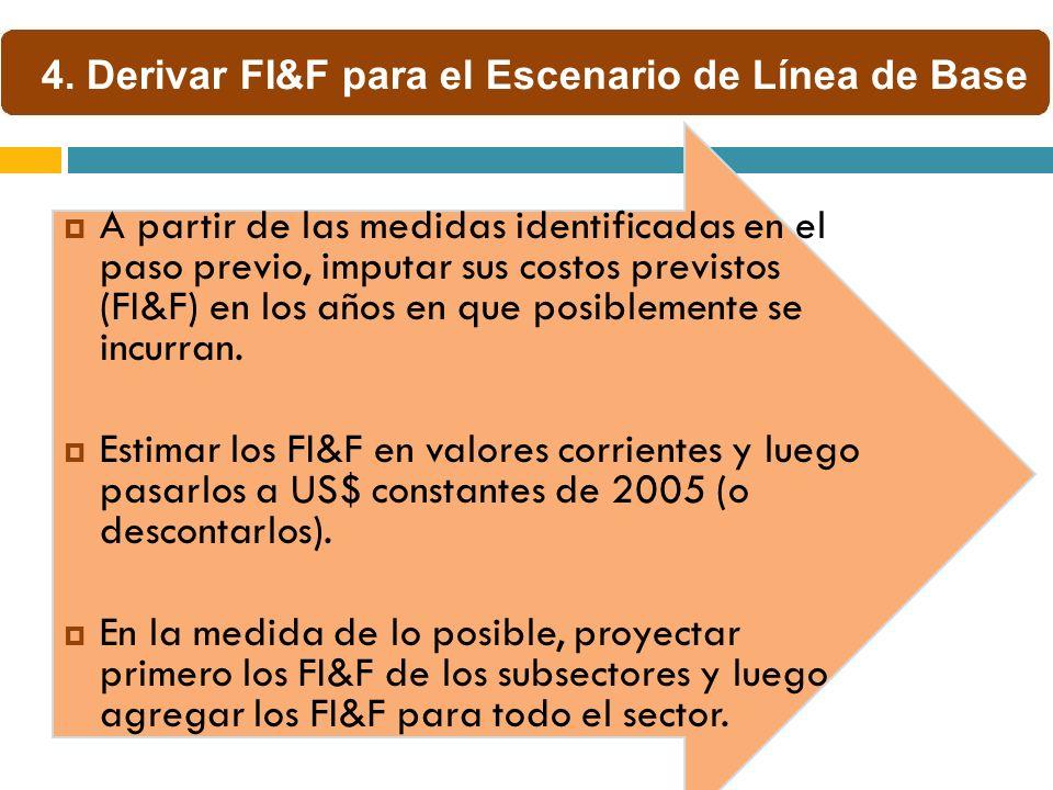 A partir de las medidas identificadas en el paso previo, imputar sus costos previstos (FI&F) en los años en que posiblemente se incurran. Estimar los