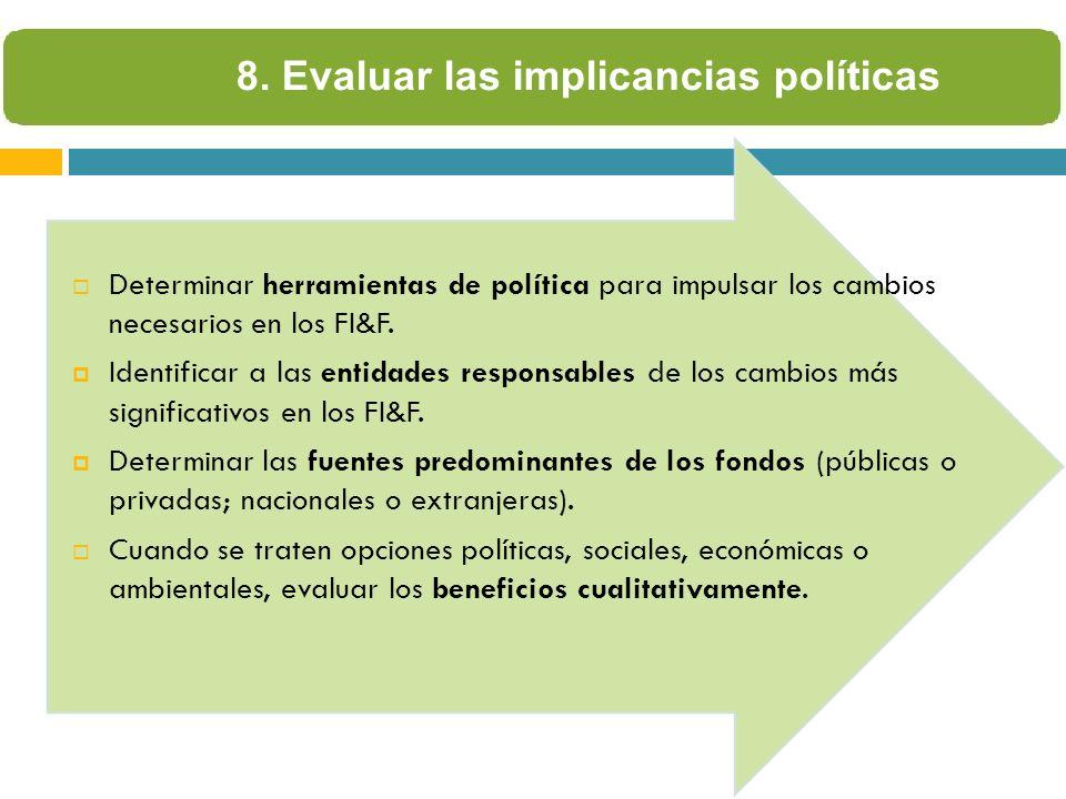 8. Evaluar las implicancias políticas Determinar herramientas de política para impulsar los cambios necesarios en los FI&F. Identificar a las entidade