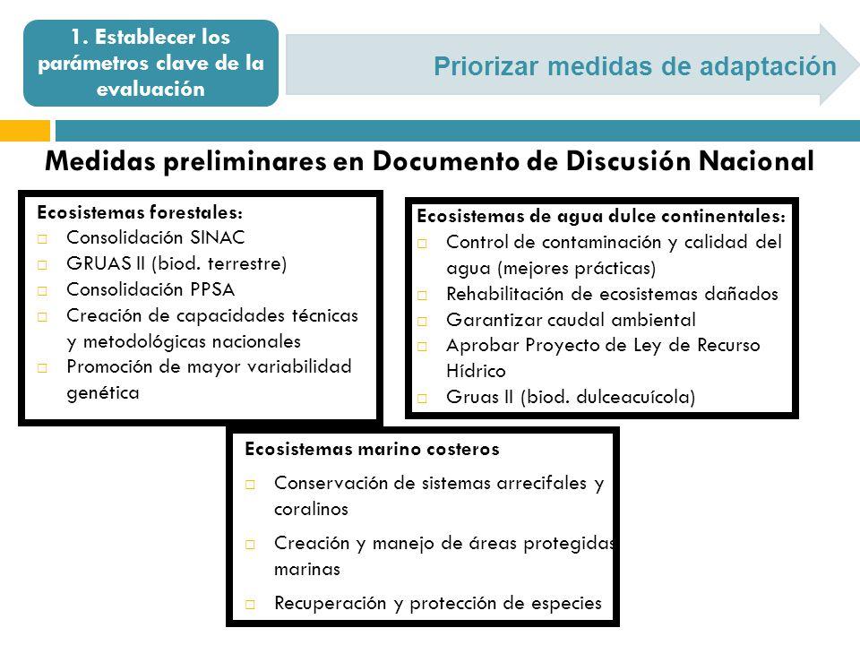 Priorizar medidas de adaptación 1. Establecer los parámetros clave de la evaluación Medidas preliminares en Documento de Discusión Nacional Ecosistema