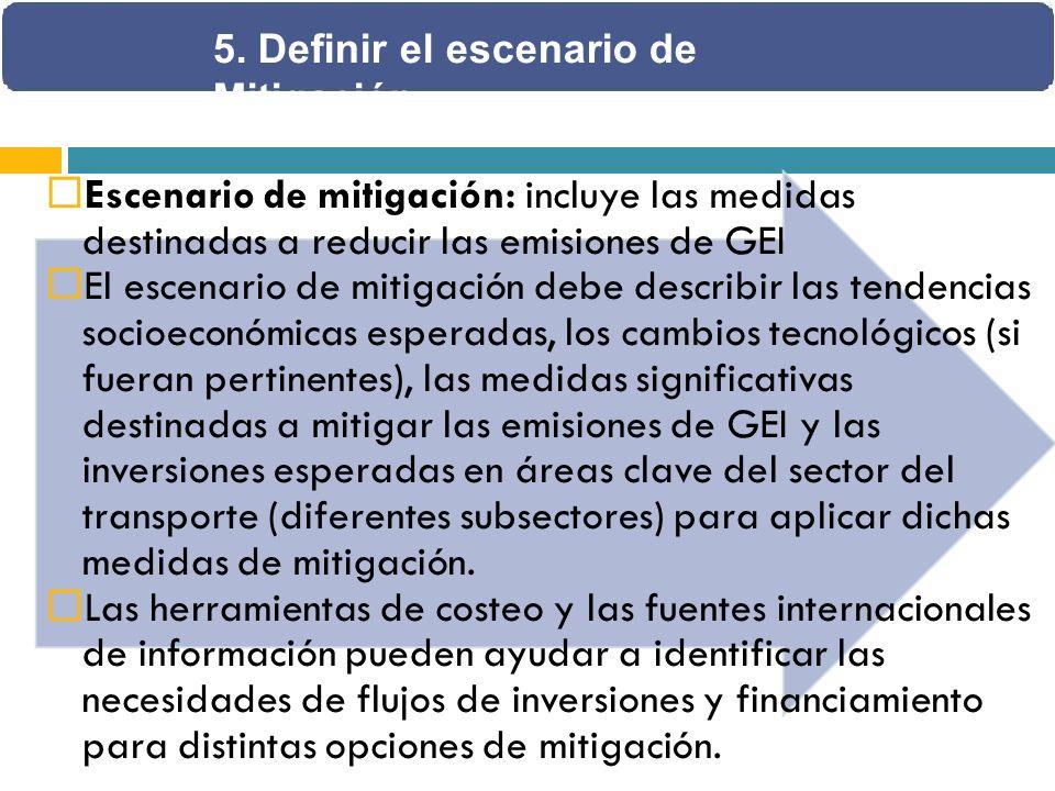 Escenario de mitigación: incluye las medidas destinadas a reducir las emisiones de GEI El escenario de mitigación debe describir las tendencias socioeconómicas esperadas, los cambios tecnológicos (si fueran pertinentes), las medidas significativas destinadas a mitigar las emisiones de GEI y las inversiones esperadas en áreas clave del sector del transporte (diferentes subsectores) para aplicar dichas medidas de mitigación.