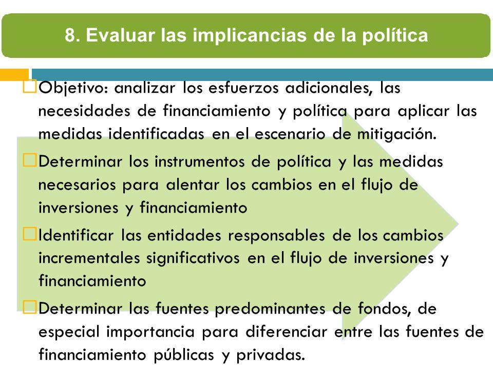 Objetivo: analizar los esfuerzos adicionales, las necesidades de financiamiento y política para aplicar las medidas identificadas en el escenario de mitigación.