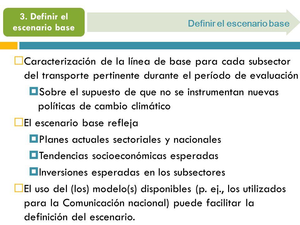 Caracterización de la línea de base para cada subsector del transporte pertinente durante el período de evaluación Sobre el supuesto de que no se inst