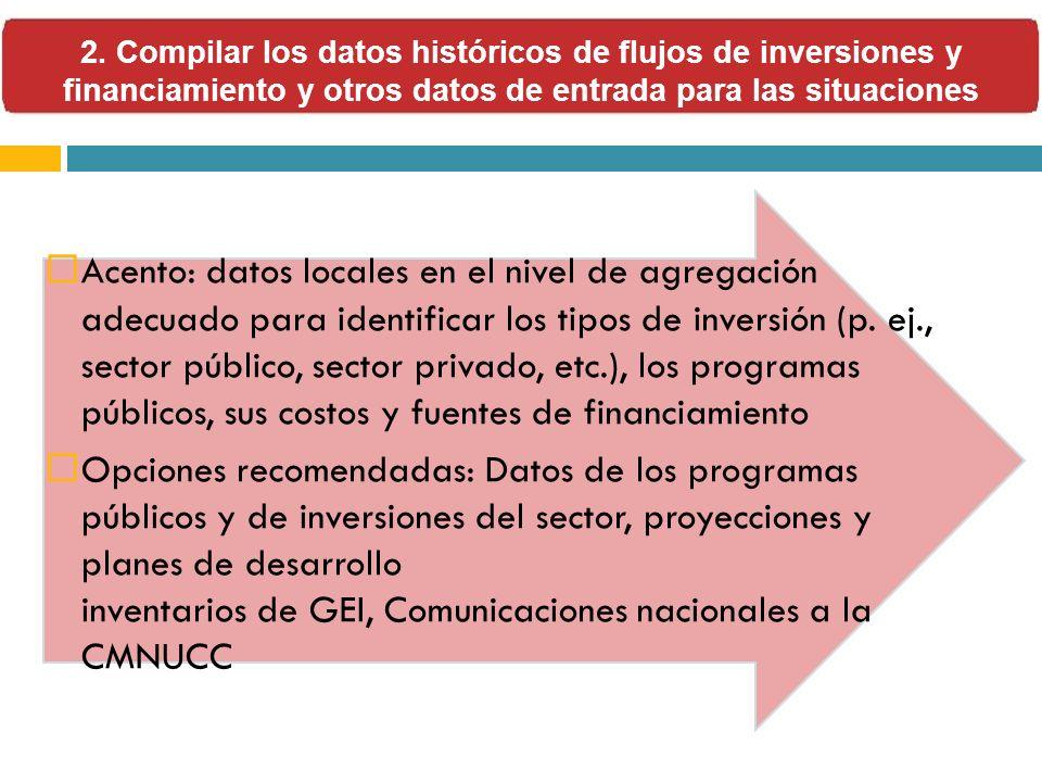 Acento: datos locales en el nivel de agregación adecuado para identificar los tipos de inversión (p. ej., sector público, sector privado, etc.), los p