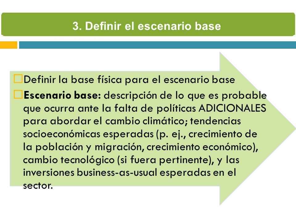 Definir la base física para el escenario base Escenario base: descripción de lo que es probable que ocurra ante la falta de políticas ADICIONALES para