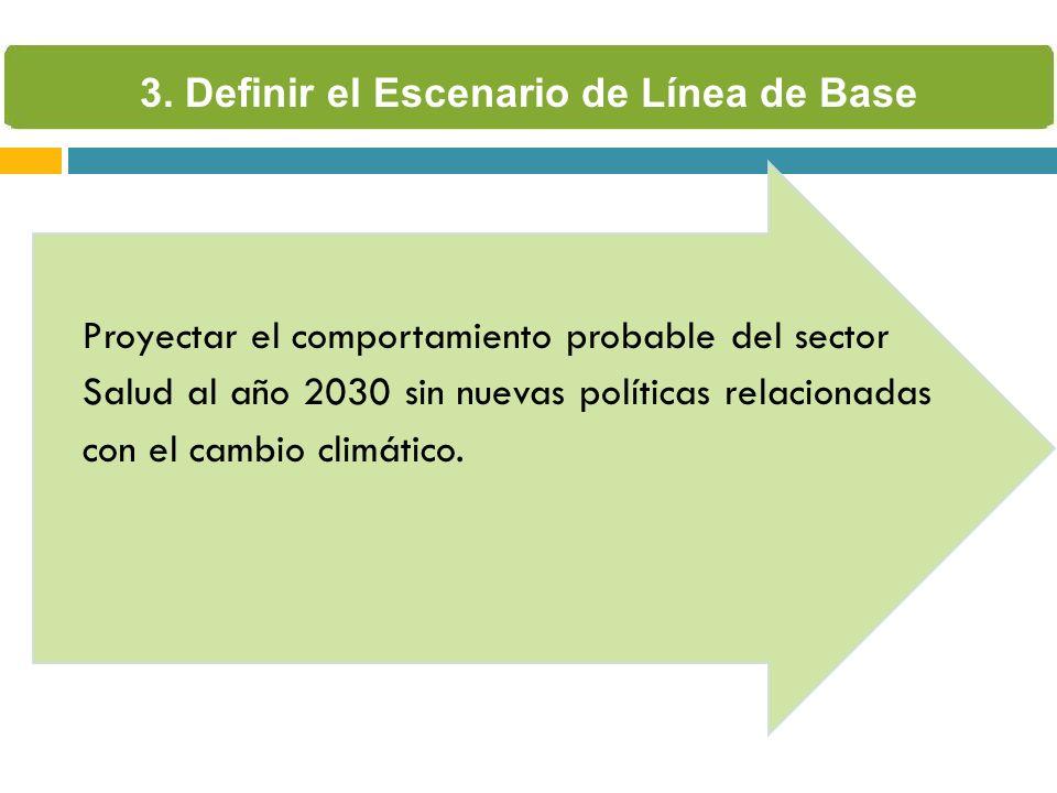 Proyectar el comportamiento probable del sector Salud al año 2030 sin nuevas políticas relacionadas con el cambio climático. 3. Definir el Escenario d