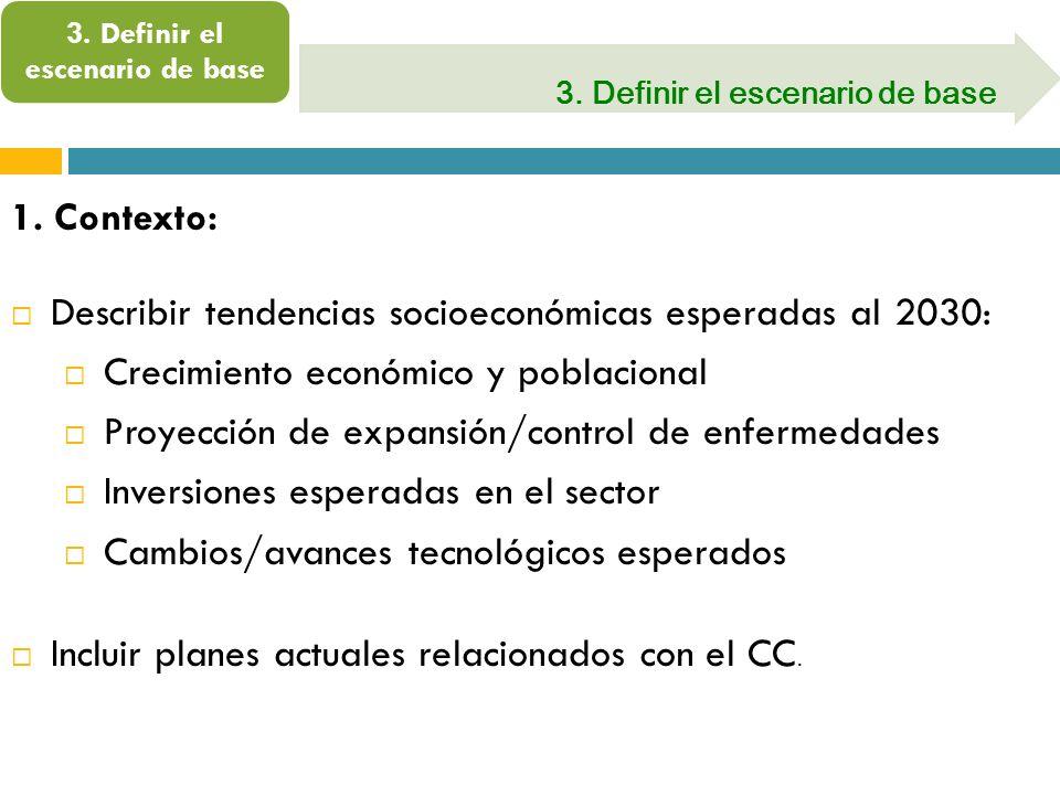 3. Definir el escenario de base 1. Contexto: Describir tendencias socioeconómicas esperadas al 2030: Crecimiento económico y poblacional Proyección de