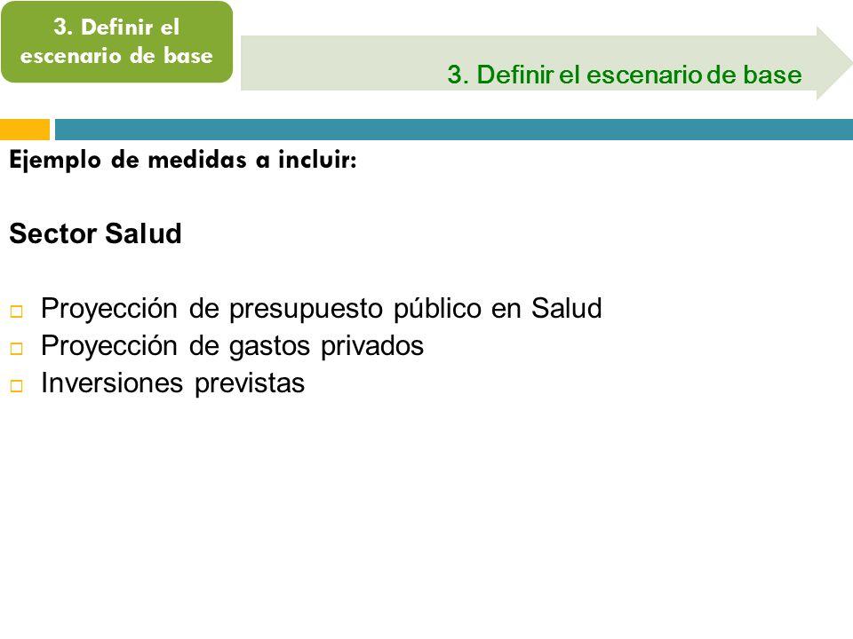 3. Definir el escenario de base Ejemplo de medidas a incluir: Sector Salud Proyección de presupuesto público en Salud Proyección de gastos privados In