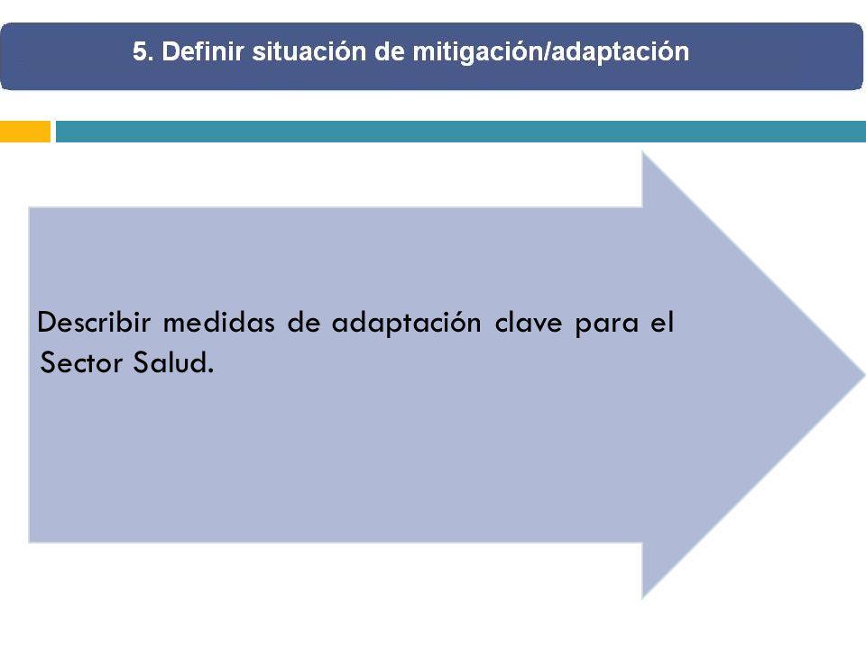 Describir medidas de adaptación clave para el Sector Salud.