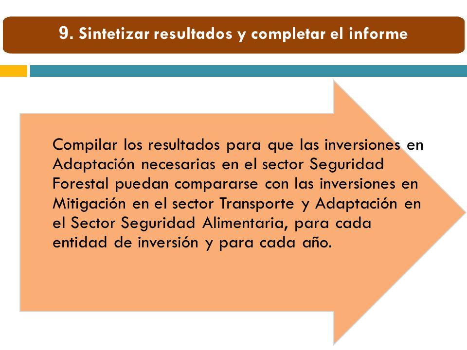 Compilar los resultados para que las inversiones en Adaptación necesarias en el sector Seguridad Forestal puedan compararse con las inversiones en Mit