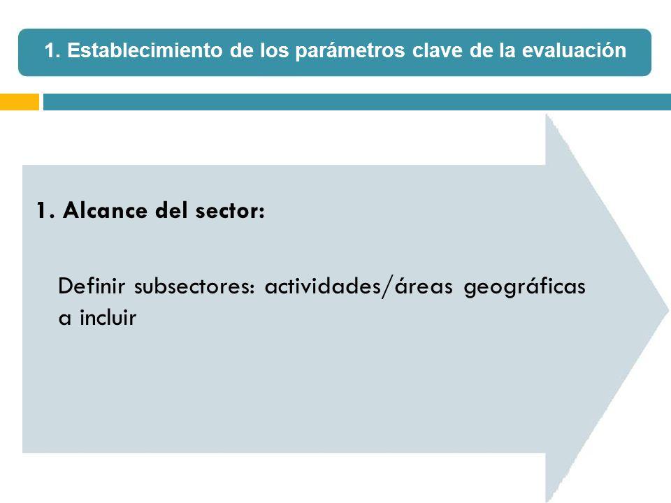 1. Alcance del sector: Definir subsectores: actividades/áreas geográficas a incluir 1. Establecimiento de los parámetros clave de la evaluación
