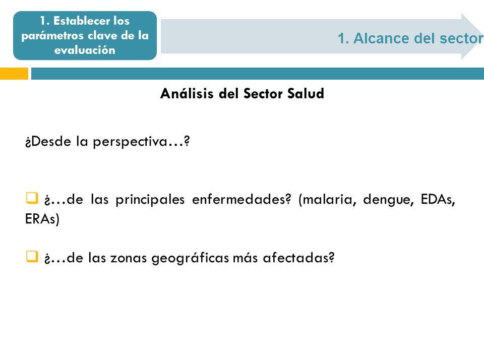 1. Alcance del sector 1. Establecer los parámetros clave de la evaluación Análisis del Sector Salud ¿Desde la perspectiva…? ¿…de las principales enfer