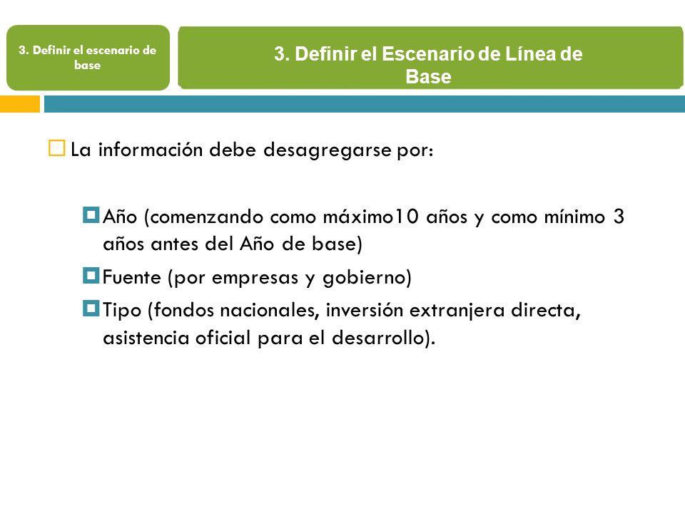 3. Definir el Escenario de Línea de Base 3.
