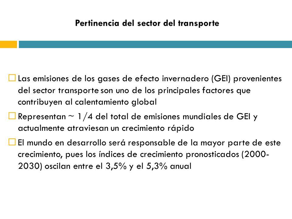 Pertinencia del sector del transporte Las emisiones de los gases de efecto invernadero (GEI) provenientes del sector transporte son uno de los principales factores que contribuyen al calentamiento global Representan ~ 1/4 del total de emisiones mundiales de GEI y actualmente atraviesan un crecimiento rápido El mundo en desarrollo será responsable de la mayor parte de este crecimiento, pues los índices de crecimiento pronosticados (2000- 2030) oscilan entre el 3,5% y el 5,3% anual