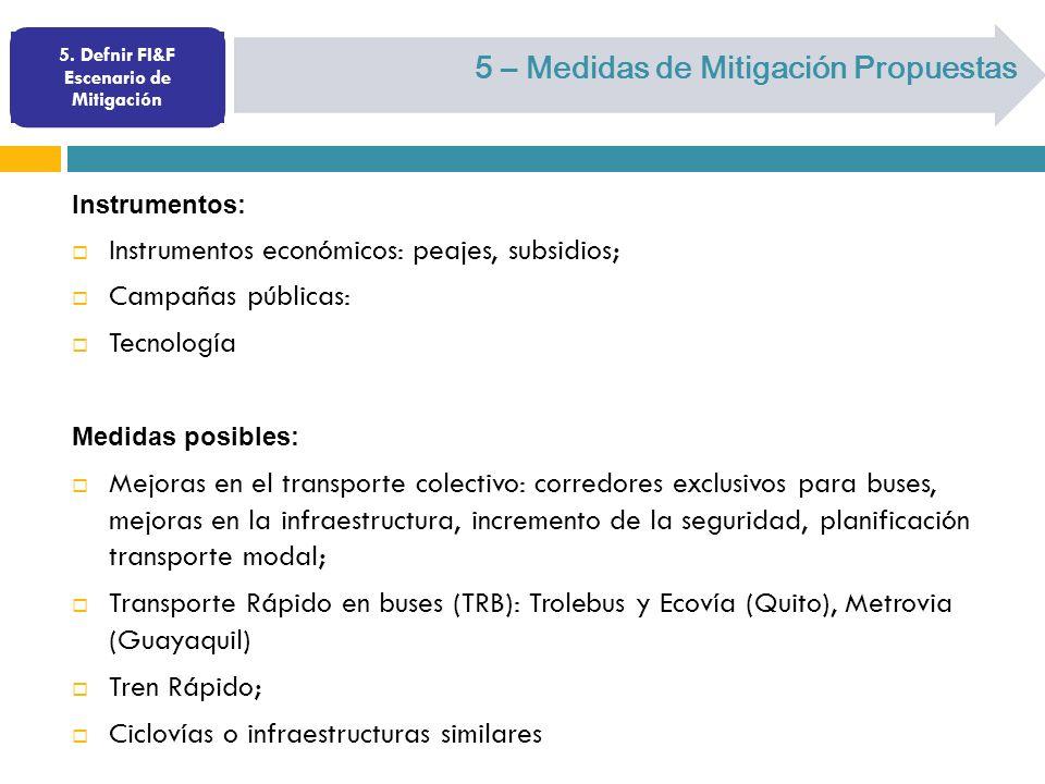 5. Defnir FI&F Escenario de Mitigación 5 – Medidas de Mitigación Propuestas Instrumentos: Instrumentos económicos: peajes, subsidios; Campañas pública