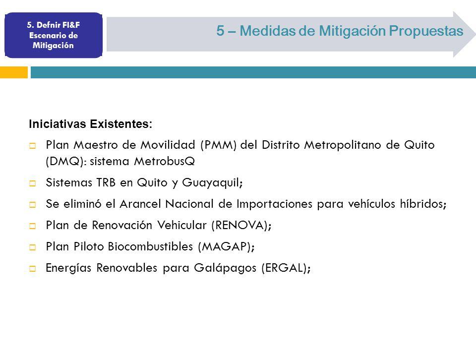 5. Defnir FI&F Escenario de Mitigación 5 – Medidas de Mitigación Propuestas Iniciativas Existentes: Plan Maestro de Movilidad (PMM) del Distrito Metro