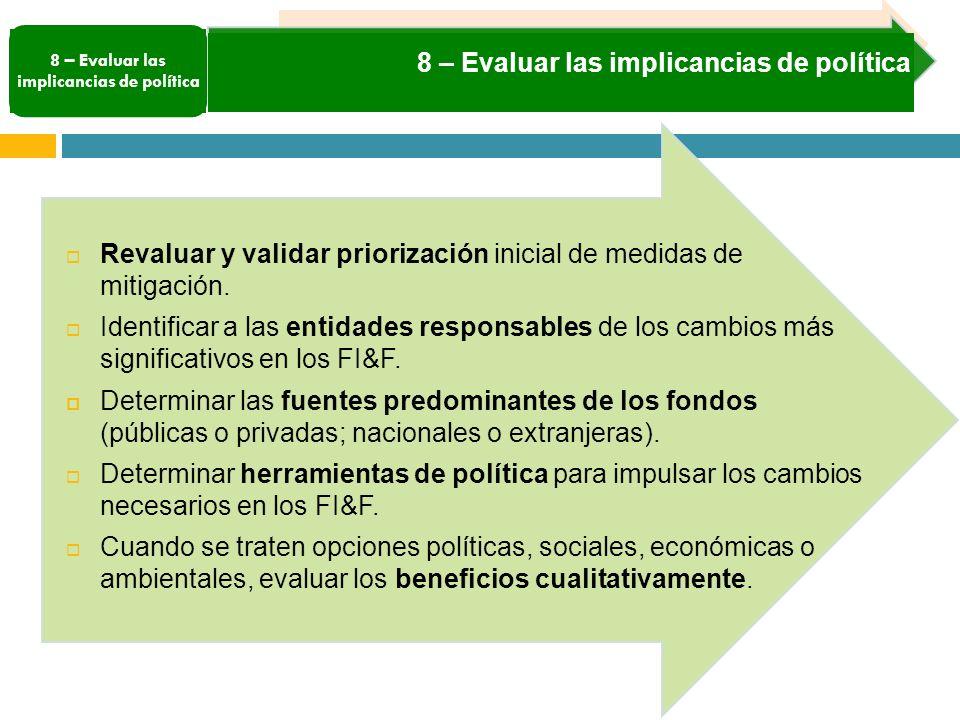 8 – Evaluar las implicancias de política Revaluar y validar priorización inicial de medidas de mitigación.