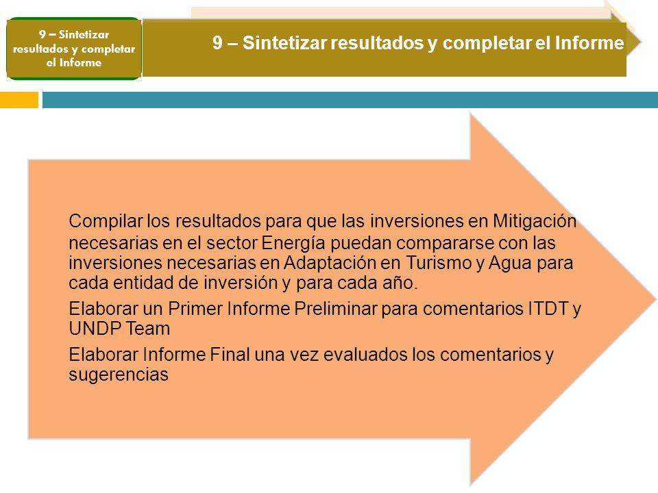 9 – Sintetizar resultados y completar el Informe Compilar los resultados para que las inversiones en Mitigación necesarias en el sector Energía puedan compararse con las inversiones necesarias en Adaptación en Turismo y Agua para cada entidad de inversión y para cada año.