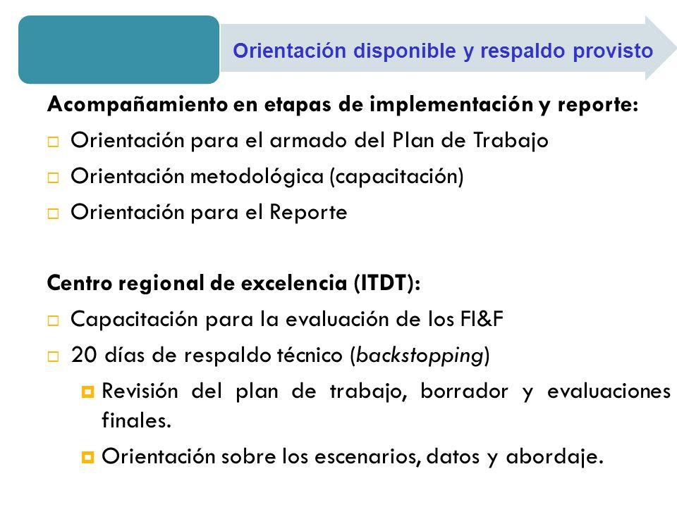 Acompañamiento en etapas de implementación y reporte: Orientación para el armado del Plan de Trabajo Orientación metodológica (capacitación) Orientaci