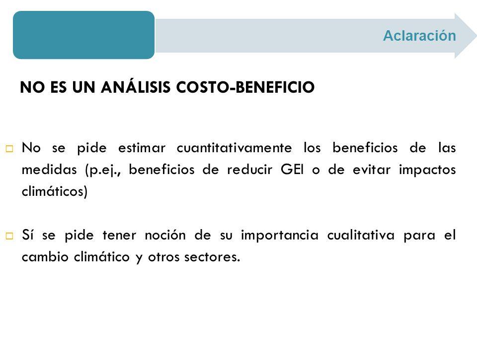 NO ES UN ANÁLISIS COSTO-BENEFICIO No se pide estimar cuantitativamente los beneficios de las medidas (p.ej., beneficios de reducir GEI o de evitar imp