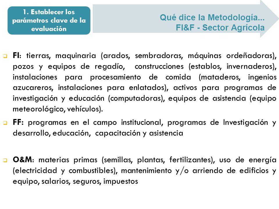 Qué dice la Metodología... FI&F - Sector Agrícola 1. Establecer los parámetros clave de la evaluación FI: tierras, maquinaria (arados, sembradoras, má